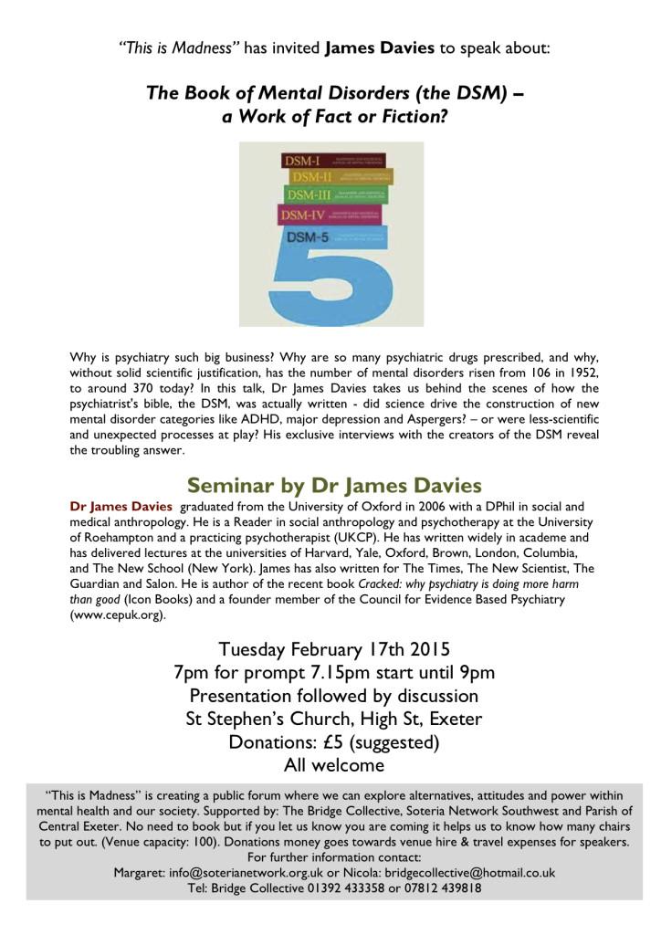 Exeter James Davies Seminar Flyer