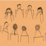 Line drawn people sat in a circle
